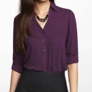EXPRESS Portofino Button Up Blouse Purple Wine XS